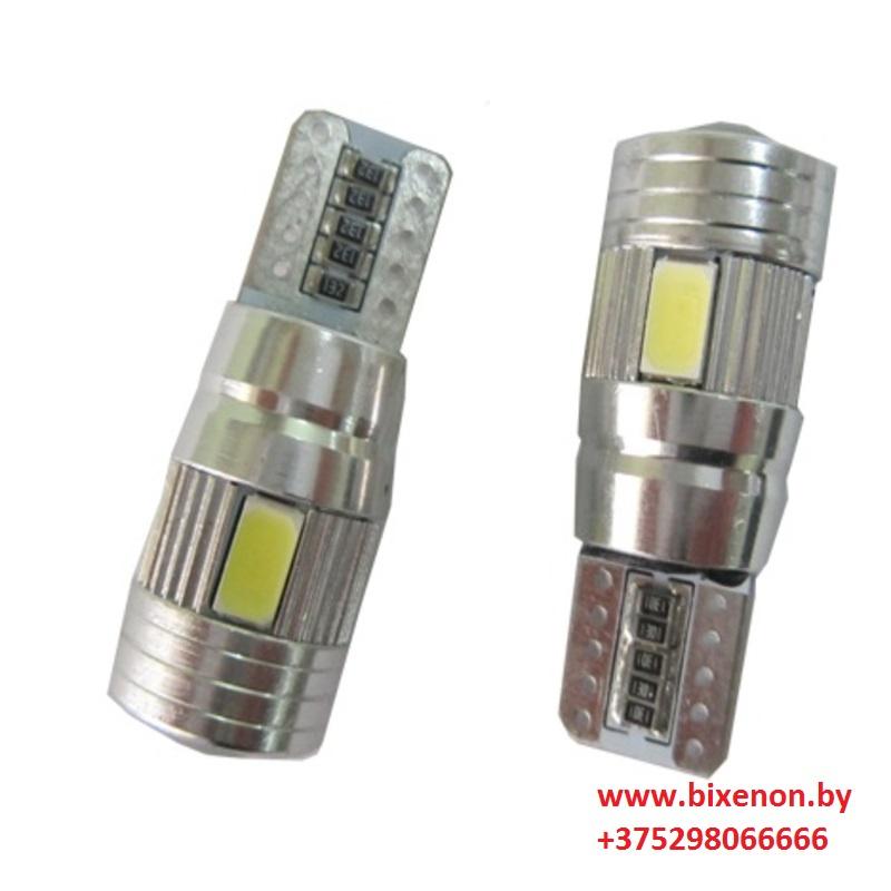 Светодиодная лампа W5W/T10 High Quality 6 SMD 5630 Canbus(с «обманкой»)