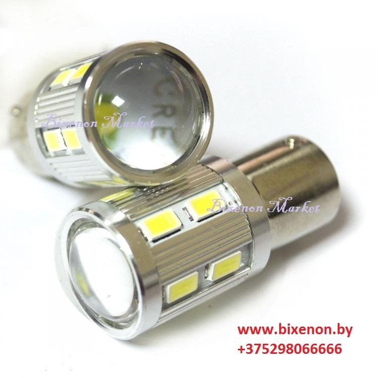 Светодиодная лампа BA15S 12-SMD+CREE (Линза) 1156-5630 (Белый)