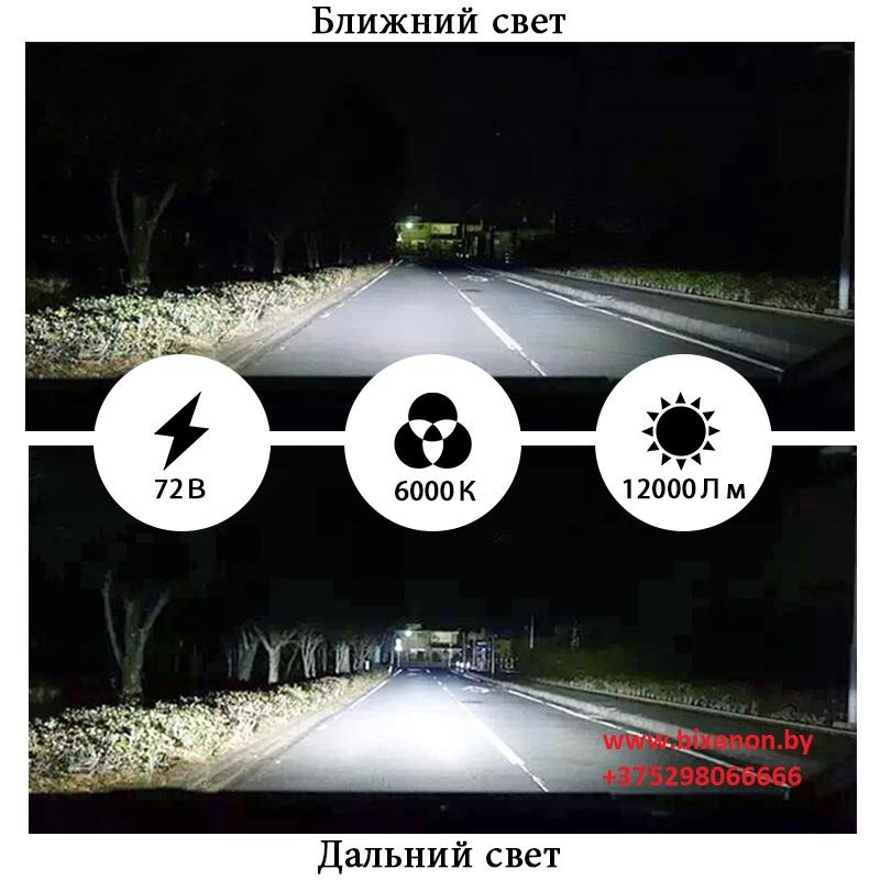 Светодиодные сверхъяркие лампы головного света A9 (5000 LM) H11 на матрице COB