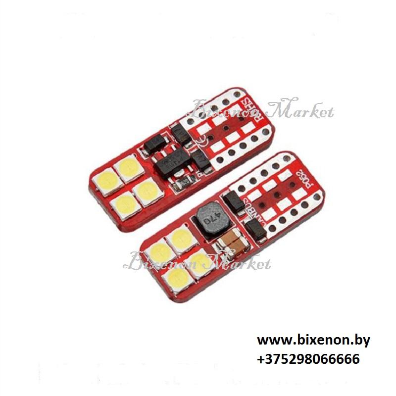 Светодиодная лампа W5W/T10-3030 8SMD плоская
