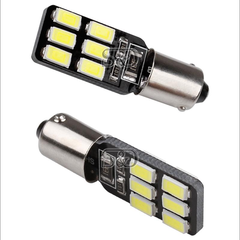Светодиодная лампа BA9S/T4W — 12 SMD 5630 с обманкой