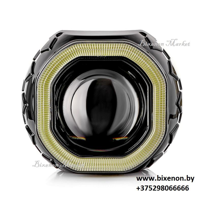 Биксеноновая линза Clearlight черная H1 с квадратной блендой и LED подсветкой 2,5″ (KBM CL G3 TP 2)