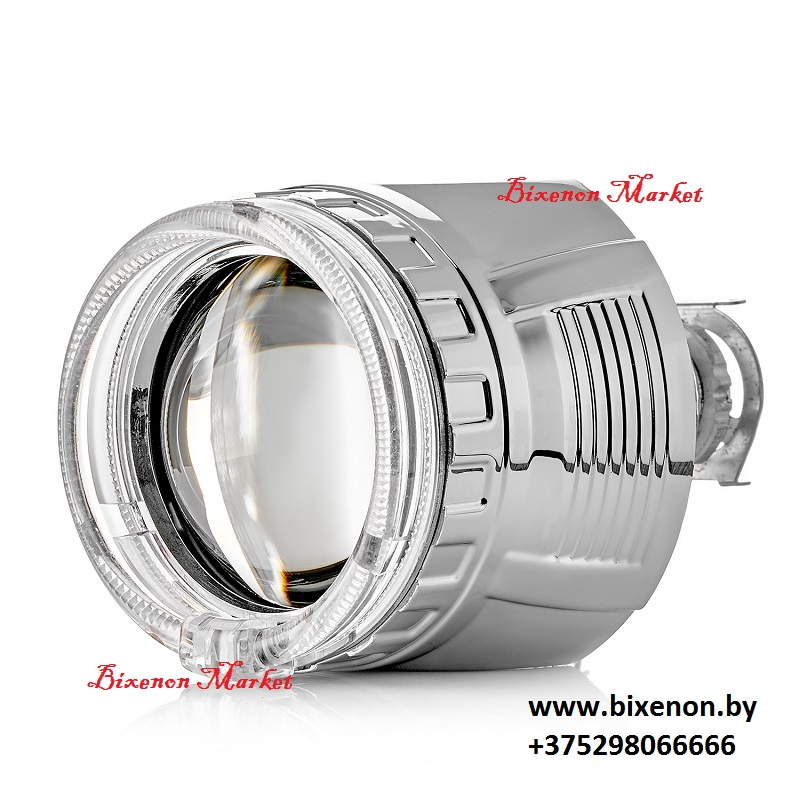 Биксеноновая линза Clearlight серебро H1 с круглой блендой и LED подсветкой 2,5″ (KBM CL G3 TP 3)