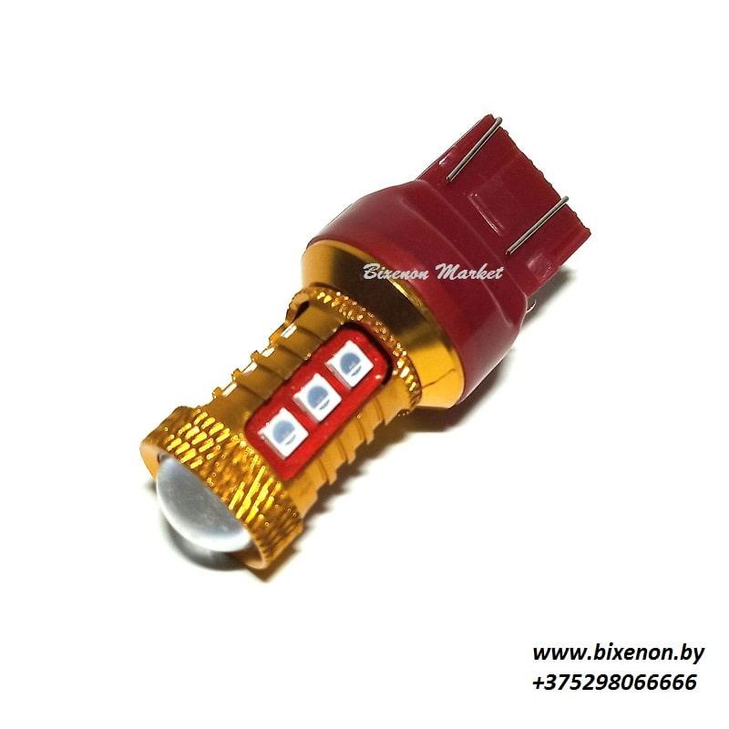 Светодиодная лампа T20 (7443)-3030-15SMD 2к КРАСНЫЙ. «японцы»