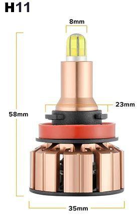 Светодиодные лампы в головной свет U6(2500lm) H11 multiCOB