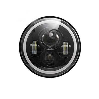 Би-лед фара 7″ 35W с режимом габарита и поворота в кольце «Ангельский глаз»
